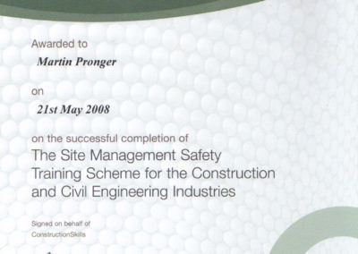 Construction site Managers Safety Cert Martin Pronger