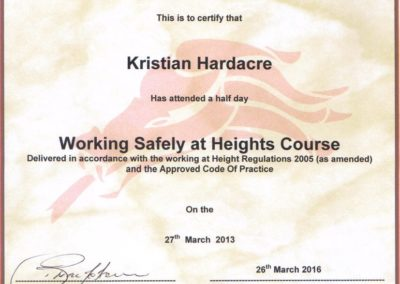 Working at Heights Cert Kristian Hardacre