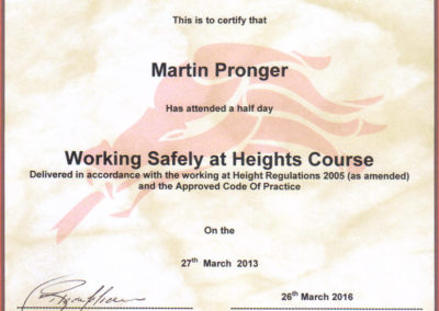Working at Heights cert Martin Pronger